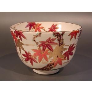 茶道具 抹茶茶碗 色絵 紅葉(もみじ)画、京都 相模竜泉作|taikando
