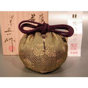 茶道具 茶入 大海  (仕服―荒磯緞子―西陣織)、 京都 桶谷定一作|taikando