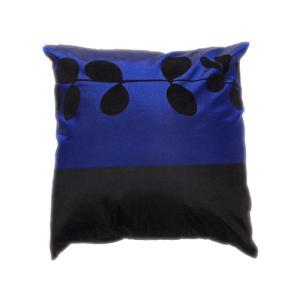 クッションカバー 45×45cm 対応 絹 おみやげ アジアン 海外 雑貨 / タイ シルク クッション カバー リーフ デザイン ブルー 青|taikokuya