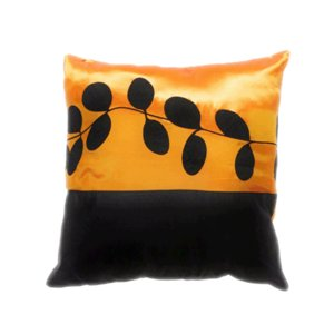 クッションカバー 45×45cm 対応 絹 おみやげ アジアン 海外 雑貨 / タイ シルク クッション カバー リーフ デザイン オレンジ 橙|taikokuya