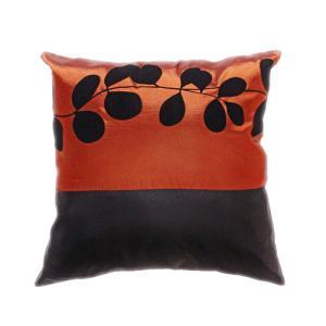クッションカバー 45×45cm 対応 絹 おみやげ アジアン 海外 雑貨 / タイ シルク クッション カバー リーフ デザイン ブロンズ 銅|taikokuya