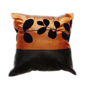 クッションカバー 45×45cm 対応 絹 おみやげ アジアン 海外 雑貨 / タイ シルク クッション カバー リーフ デザイン ブラウン 茶色|taikokuya