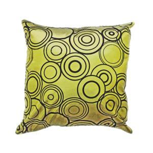 クッションカバー 45×45cm 対応 絹 おみやげ アジアン 海外 雑貨 / タイ シルク クッション カバー リング デザイン グリーン 緑|taikokuya