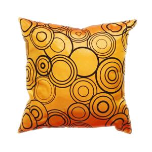 クッションカバー 45×45cm 対応 絹 おみやげ アジアン 海外 雑貨 / タイ シルク クッション カバー リング デザイン オレンジ 橙|taikokuya