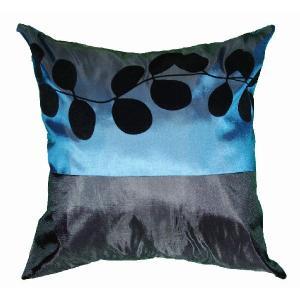 クッションカバー 45×45cm 対応 絹 おみやげ 海外 雑貨 / タイ シルク クッション カバー リーフ デザイン ターコイズ ブルー 青|taikokuya