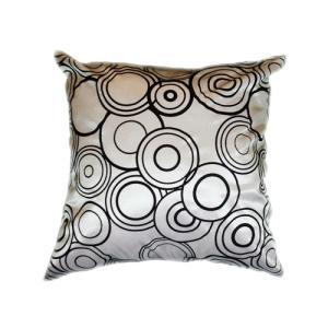 クッションカバー 45×45cm 対応 絹 おみやげ アジアン 海外 雑貨 / タイ シルク クッション カバー リング デザイン シルバー 銀|taikokuya