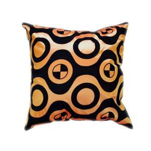 クッションカバー 45×45cm 対応 絹 おみやげ アジアン 雑貨 / タイ シルク クッション カバー チェッカー デザイン オレンジ 橙|taikokuya