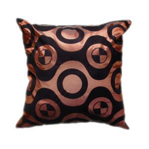 クッションカバー 45×45cm 対応 絹 おみやげ アジアン 雑貨 / タイ シルク クッション カバー チェッカー デザイン ブラウン 茶色|taikokuya