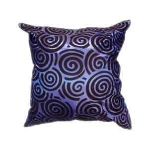 クッションカバー 45×45cm 対応 絹 おみやげ アジアン 海外 雑貨 / タイ シルク クッション カバー スクリュー デザイン ブルー 青|taikokuya