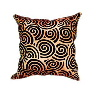 クッションカバー 45×45cm 対応 絹 おみやげ アジアン 海外 雑貨 / タイ シルク クッション カバー スクリュー デザイン オレンジ 橙|taikokuya
