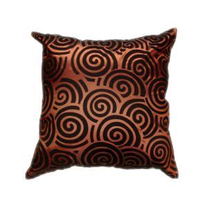 クッションカバー 45×45cm 対応 絹 おみやげ 海外 雑貨 / タイ シルク クッション カバー スクリュー デザイン ブラウン 茶色|taikokuya