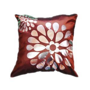 クッションカバー 45×45cm 対応 絹 おみやげ アジアン 海外 雑貨 / タイ シルク クッション カバー フラワー デザイン ブラウン 茶色|taikokuya