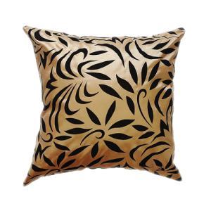 クッションカバー 45×45cm 対応 絹 おみやげ 海外 雑貨 / タイシルク クッション カバー バンコク リーフ デザイン ゴールド 金|taikokuya