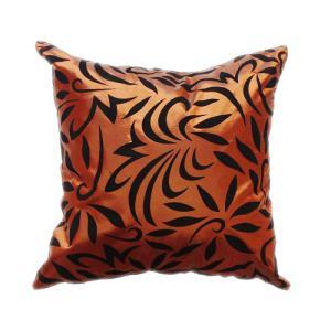 クッションカバー 45×45cm 対応 絹 おみやげ 海外 雑貨 / タイシルク クッション カバー バンコク リーフ デザイン ブロンズ 銅|taikokuya