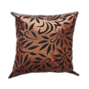 クッションカバー 45×45cm 対応 絹 おみやげ 海外 雑貨 / タイシルク クッション カバー バンコク リーフ デザイン ブラウン 茶色|taikokuya