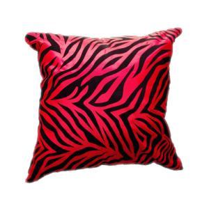 クッションカバー 45×45cm 対応 絹 おみやげ アジアン 海外 雑貨 / タイ シルク クッション カバー ゼブラ デザイン レッド 赤|taikokuya