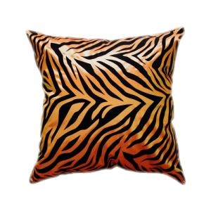 クッションカバー 45×45cm 対応 絹 おみやげ アジアン 海外 雑貨 / タイ シルク クッション カバー ゼブラ デザイン オレンジ 橙|taikokuya