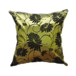 クッションカバー 45×45cm 対応 絹 おみやげ 海外 雑貨 / タイシルク クッション カバー ロータス デザイン グリーン 緑|taikokuya