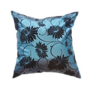 クッションカバー 45×45cm 対応 絹 おみやげ 海外 雑貨 / タイシルク クッション カバー ロータス デザイン ターコイズ ブルー 青|taikokuya