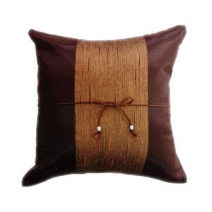 クッションカバー 40×40cm アジアン おみやげ 雑貨 / タイランド クッション カバー チェンマイ デザイン ブラウン 茶色|taikokuya