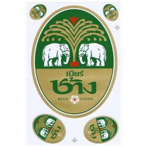 チャーンビール 『BEER CHANG』 ステッカー Lサイズ - タイ雑貨 アジアン 雑貨 スーツケース トランク 旅行 グッズ 海外-
