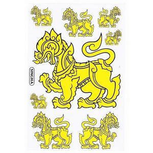 シンハービール 『SINGHA BEER』 ステッカー (イエロー Yellow) Lサイズ - タイ雑貨 アジアン 雑貨 スーツケース トランク 旅行 グッズ 海外-