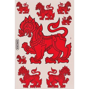 シンハービール 『SINGHA BEER』 ステッカー (レッド Red) Lサイズ - タイ雑貨 アジアン 雑貨 スーツケース トランク 旅行 グッズ 海外-