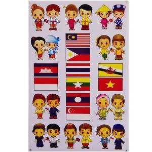 ステッカー 雑貨 アジアン シール / タイ & ASEAN ペア+ 国旗 ステッカー (15P mix) L サイズ t-A taikokuya