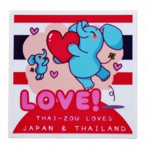 国旗 ステッカー タイぞう ラブ ジャパン & タイランド ステッカー LOVE(だいすき)/ t4 | タイ 国旗 ステッカー シール アジアン 雑貨|taikokuya