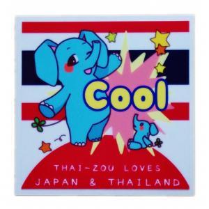 国旗 ステッカー タイぞう ラブ ジャパン & タイランド Cool(超いいね)/ t5 | タイ 国旗 ステッカー シール アジアン 雑貨|taikokuya