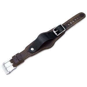 20mm MiLTAT 時計ベルト HEZZO BUND チェスナットブラウン&ブラック ブラウンステッチ|taikonaut