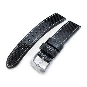 20mm MiLTAT 時計ベルト カーボン グロッシーブラック ベージュステッチ ブラッシュドバックル taikonaut