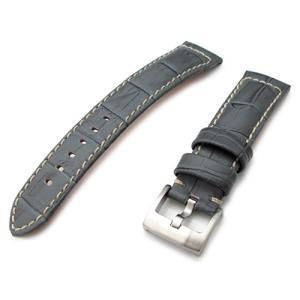 20mm MiLTAT 時計ベルト クロコグレーン ライトグレー ベージュステッチ taikonaut