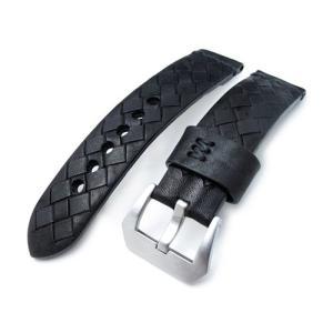 22mm MiLTAT 時計ベルト Zizz ハンドソーイング ブレイドカーフ ブラック ブラックステッチ パネライ40mm|taikonaut