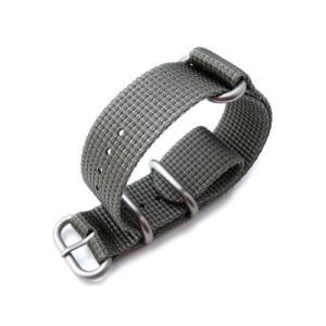 24mm MiLTAT 時計ベルト ZULU 4リング 多層織ナイロン グレー ブラッシュドバックル taikonaut