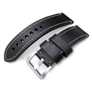 24mm MiLTAT 時計ベルト HORWEEN Leather リザードグレーン マットブラック / ベージュステッチ ブラッシュドバックル パネライ44mm|taikonaut
