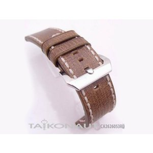 26mm TAIKONAUT 時計ベルト カーフ ウッドブラウン ホワイトステッチ パネライ1950|taikonaut