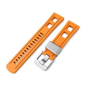 22mm Crafter Blue 時計ベルト NBRラバー オレンジ ストレートエンド|taikonaut