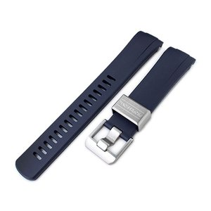 22mm Crafter Blue 時計ベルト NBRラバー ネイビーブルー カーブドエンド for セイコー サードダイバー復刻 SRP777, SRP779, SRP773, SRP775, SRPA21|taikonaut