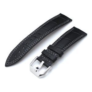 20mm TAIKONAUT 時計ベルト クロコグレーン マットブラック グレーWステッチ カーブドエンド taikonaut