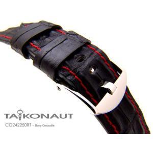 24mm TAIKONAUT 時計ベルト ホーンドボニークロコダイル マットブラック / レッドステッチ / パネライ44mm|taikonaut
