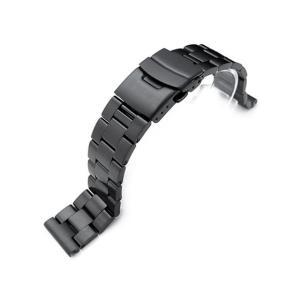 19mm メタル時計バンド ステンレススチール オイスター ブレスレット PVDブラック|taikonaut