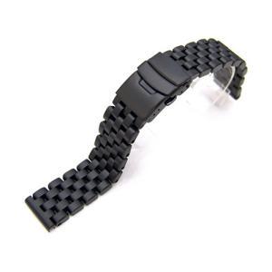 20mm メタル時計バンド ステンレススチール スーパーエンジニア ブレスレット PVDブラッシュドブラック taikonaut