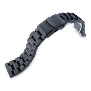 22mm メタル時計バンド ステンレススチール ヘクサッド オイスター ブレスレット PVDブラック|taikonaut
