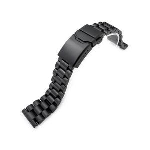 22mm メタル時計バンド ステンレススチール エンドミル ブレスレット PVDブラック チャンファークラスプ|taikonaut