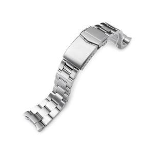 22mm メタル時計バンド ステンレススチール オイスター ブレスレット チャンファーVクラスプ for セイコー ダイバー SKX007, SKX009, SKX011他 ブラッシュド taikonaut