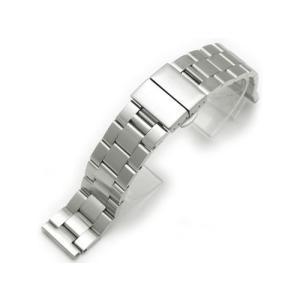 20mm メタル時計バンド ステンレススチール オイスター ブレスレット ブラッシュドシルバー Dバックル taikonaut