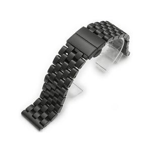 20mm メタル時計バンド ステンレススチール スーパーエンジニア ブレスレット PVDブラック Dバックル taikonaut