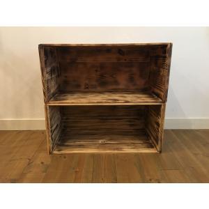焼き目加工 りんご箱 1箱【複数購入可】/ 木箱 ウッドボックス キャンプ 収納 ケースの写真