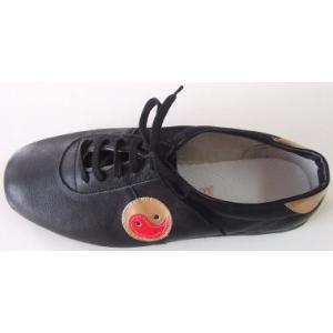 太極拳革靴(陰陽マーク)黒・薄底|taiqi